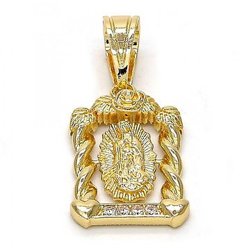 Gold Layered 05.120.0022 Religious Pendant, Guadalupe and Twist Design, with White Cubic Zirconia, Polished Finish, Gold Tone