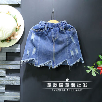 Girl denim skirt children's clothing 2017 new summer models wild hole tide fairy skirt female baby irregular skirt