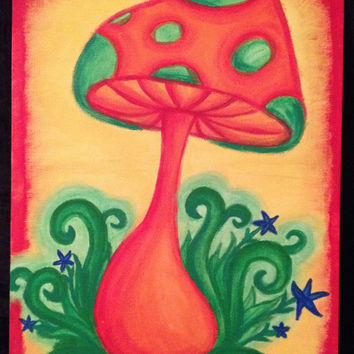 Very colorful mushroom paintings!