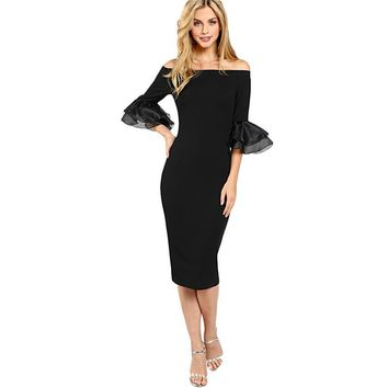 Black Off The Shoulder Flare Sleeve Dress