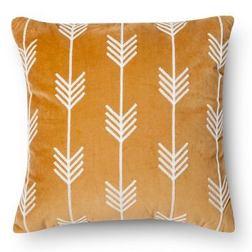 Threshold™ Velvet Arrow Stitch Decorative Pillow - Gold (Square)