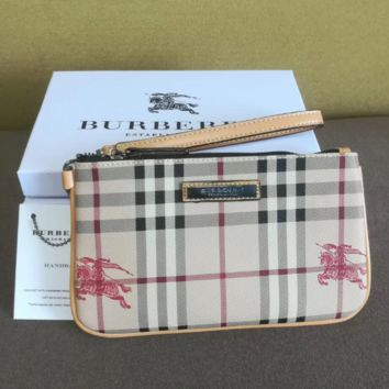 Burberry Fashion New Horse Print Plaid Women Men Bag Cosmetic Bag Handbag