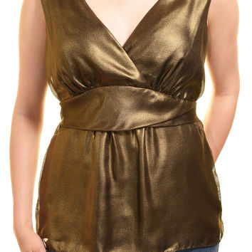 Ann Taylor Gold Cocktail Blouse (Metallic Gold)