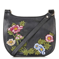 Floral Leather Saddle Bag - Bags & Wallets - Bags & Accessories