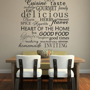 "Custom Kitchen Words Decal 39"" x 60"" White + Priority Shipping"