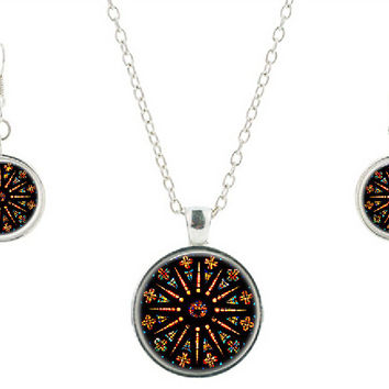 Vintage colorful Necklace earring Church Stained Glass pendants mandala Jewelry sets Pendant statement necklaces for gift