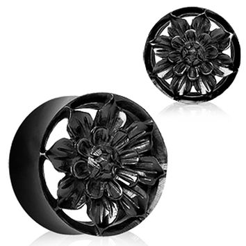 Organic Black Buffalo Horn Flesh Tunnel Plug with Carved Dahlia Flower