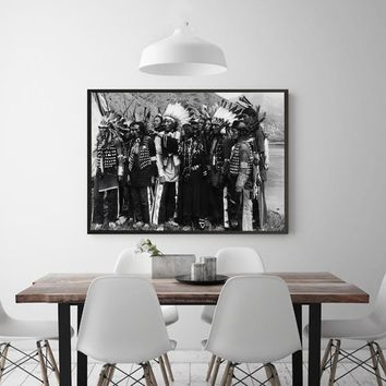 Black&White Canvas Painting American Native Indians Posters and Prints Wall Pictures For Living Room Photography Art Home Decor
