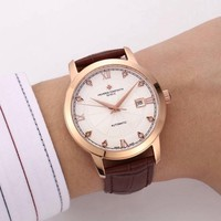 DCCK V022 Vacheron Constantin Geneve Automatic Leather Watchand Watch Maroon Rose Gold