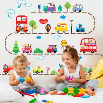 Cute Cartoon Cars Traffic Wall Sticker Baby Boys Room Decorative Automobile Stickers Poster for Kids Rooms 2018 New Hot Sale