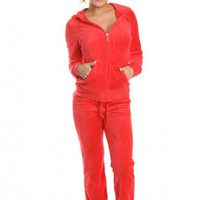 RED 2 PIECE TERRY TRACKSUIT HOODY SWEATSHIRT PANT SET