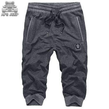 Loose Brand AFS JEEP Men Shorts Casual Sweat short Pants Knitted Cotton Skinny New 2018 Summer Breathable Soft  Drawstring