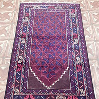 Ivory Tribal Tent Hand Knotted 3' x 4' Tied From Memory Area Rugs