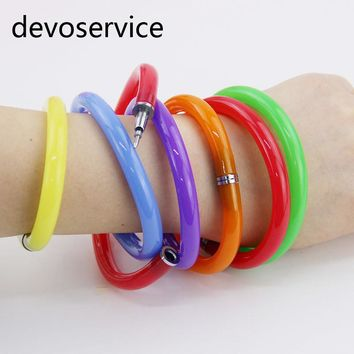 1PCS Flexible Ball Pen Cute Soft Plastic Bangle Bracelet Wristlet Circlet Ballpoint Pens School&Office Supplies