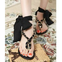 Delicate Chain Strap Scarf Tie Know Slingbacks Thong Flat Sandals 3 Colors