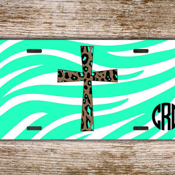 Personalized front license plate monogrammed car tag - Religious with cross, aqua zebra print - monogram gift custom auto accessory (9980)