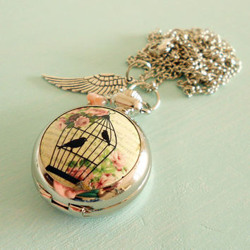 Sale - Shabby Chic Pink Romantic Birdcage Pocket Watch Necklace - Vintage Inspired, Antique Silver Wing Charm & Czech Glass Flower