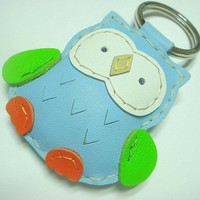 Lovely Fanny the Owl Leather Keychain ( Light Blue )