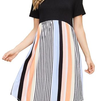 Solid and Stripe Color Block Dress