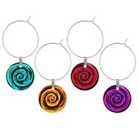 Funky Aqua Hypnotic Swirl Art Wine Glass Charm
