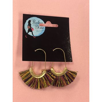 Multi-Colored Fan Hoop Earrings