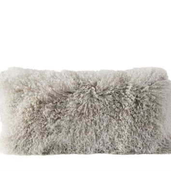 Mongolian Lamb Fur Pillow - Grey
