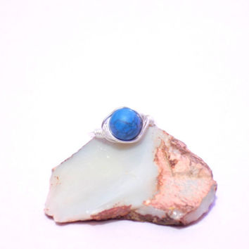 Turquoise wire wrap ring