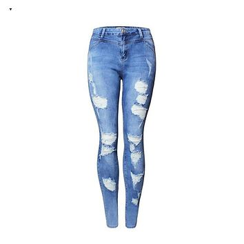 2080 New 2017 Hot Fashion Ladies High Waist Jeans Cotton Denim Pants Stretch Womens Bleach Ripped Skinny Jeans For Female-1