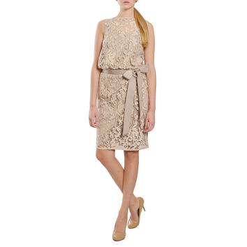 Tadashi Shoji Charming Lace Overlay Blouson Ribbon Belted Cocktail Evening Dress | Overstock.com Shopping - The Best Deals on Evening & Formal Dresses