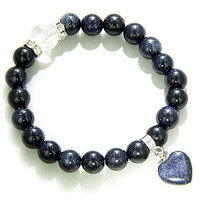 Cute Crystals and Blue Goldstone Good Luck Talisman Bracelet