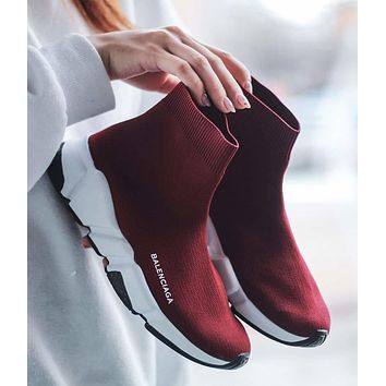 Wine Red Balenciaga Woman Men Fashion Breathable Sneakers Running Shoes