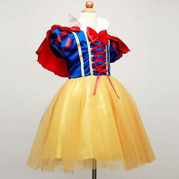 New Snow White Princess Dress with Red Cape and Bow Kid Girl Dresses Halloween Party Cosplay Children Clothing Christmas Costume