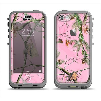The Pink Real Camouflage Apple iPhone 5c LifeProof Nuud Case Skin Set