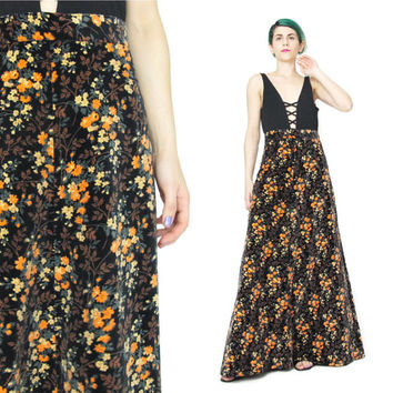 1970s Velvet Maxi Skirt Black Floral Maxi Skirt Long Velvet Skirt Hippie Boho Floral Print Skirt Floor Length High Waisted Skirt (M)