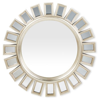 Mirrors, Sunburst Beveled Wall Mirror, Silver, Wall Mirrors