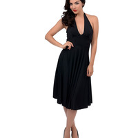1950s Style Black Halter Marilyn Swing Dress