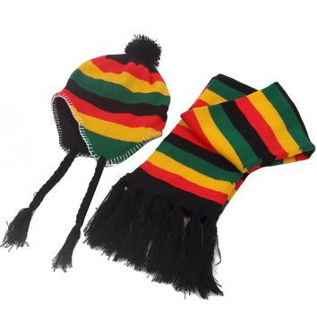 Free Shipping 2017 New Winter Jamaica Rasta Reggae Multicolor Rainbow Stripe Beanie Hats And Scarf Sets For Womens Mens