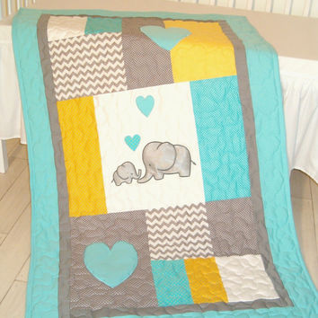 Baby  blanket, elephant quilt bedding,  aqua yellow gray nursery decoration