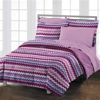Chevron Berry Wave Comforter Set Twin XL College Bed Sets XL Twin Dorm Students Needs Soft Bedding For College