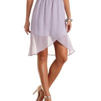 High-Low Chiffon Tulip Skirt by Charlotte Russe