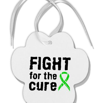 Fight for the Cure - Lime Green Ribbon Lyme Disease Paw Print Shaped Ornament