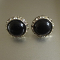 Black Earrings, Vintage, Channel Set Rhinestone & Lucite Domes, Silver Tone Metal, Flying Saucers!