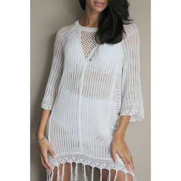 Sexy Scoop Neck Openwork Fringed Cover Up For Women