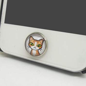 1pc Retro Epoxy Transparent Time Gems Cute Cartoon Cheese Cat Cell Phone Home Button Sticker Charm for iPhone 4s,4g,5,5c, iPad Kids Gift