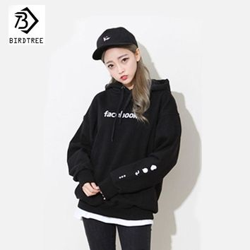 New Women Sweatshirt 2017 Autumn Embroidery Facebook Long Sleeve Loose Pullovers White Blue Blac Hoodie Sweatshirt Woman C78187A
