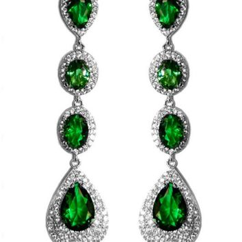 Chloey Emerald Green Linear Long Chandelier Earrings | Cubic Zirconia | Silver