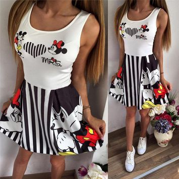 Minnie Mickey Mous Women Cartoon Stripes Short Swing Dress Miki Vestidos Cute Clothes Clothing Female Party Dress Birthday
