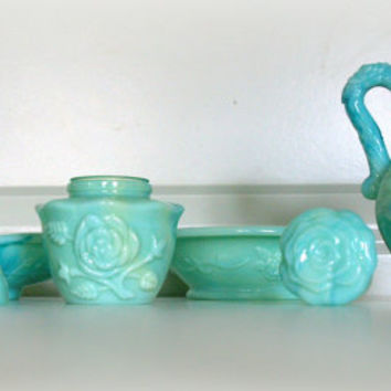 70s VINTAGE GLASS VANITY Set - Green Jadeite Glassware Bath Set - Powder Perfume  Bottle - Oil Pitcher - Lovely Bar Soap Dish - Rose Pattern