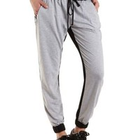 Color Block French Terry Jogger Pants by Charlotte Russe
