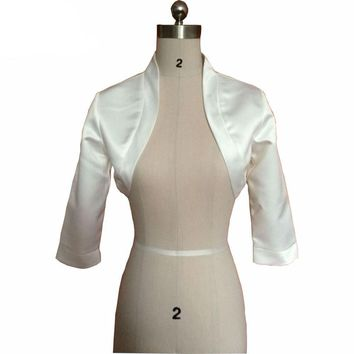Ivory Wedding Jacket Evening Capes Bridal Jackets Satin 3/4 Long Sleeves Bridal Shrug Wraps Wedding Accessories